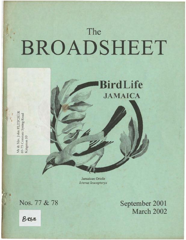 BirdLife Jamaica, Broadsheet_No. 77-78_Sep. 2001 - Mar. 2002.pdf