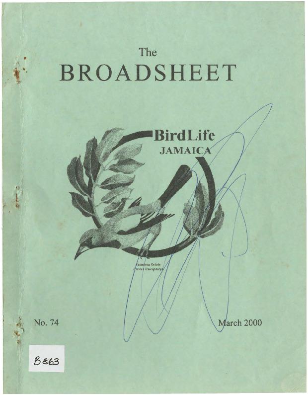 BirdLife Jamaica, Broadsheet_No. 74_Mar. 2000.pdf