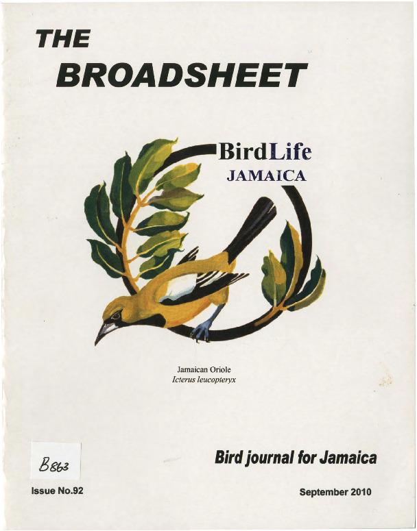 BirdLife Jamaica, Broadsheet_No. 92_Sep. 2010.pdf