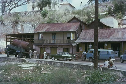 8 Cave Valley Square with Parish Council water supply truck (1977)..jpg