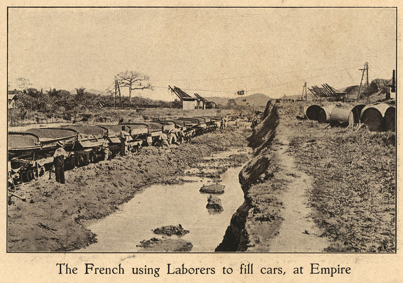 The French using laborers to fill cars at Empire