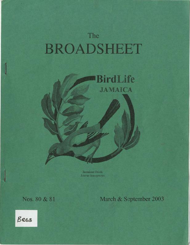 BirdLife Jamaica, Broadsheet_No. 80-81_Mar. - Sep. 2003.pdf