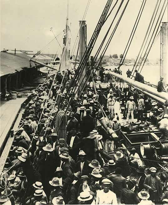 Arrival at Cristobal of S.S Ancon with 1500 labourers from Barbados to work on the site of the Panama Canal.