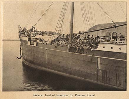 Steamer load of labourers for Panama Canal