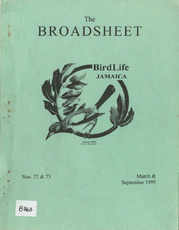 BirdLife Jamaica, Broadsheet_No. 72-73_Mar. - Sep. 1999.pdf