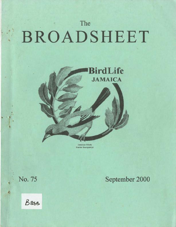 BirdLife Jamaica, Broadsheet_No. 75_Sep. 2000.pdf