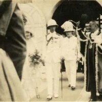 Deacon of the Kingston Parish Church after laying of the foundation stone for the memorial clock tower 1927