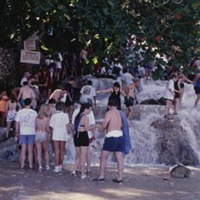 20 Dunns River Falls, Beach and Tourists at start of climb (1997).jpg