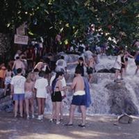 20 Dunns River Falls, Beach and Tourists at start of climb (1997).jpg